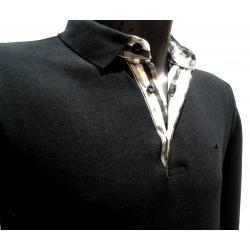 Polo Stil Park noir manches longues col chemise à carreaux