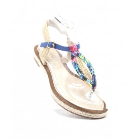 Nu pieds bleus motifs floral