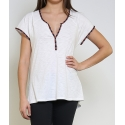 T-shirt femme blanc ou denim manches courtes