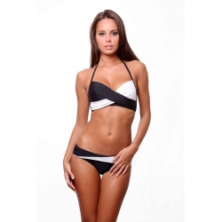 Dagadom women swimwear 2 pieces-black and white color