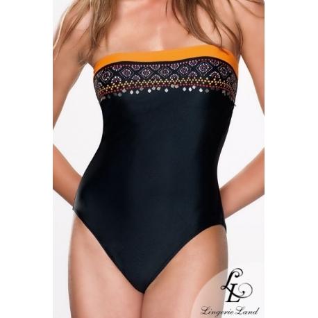 Maillot 1 pièce noir et orange forme bandeau