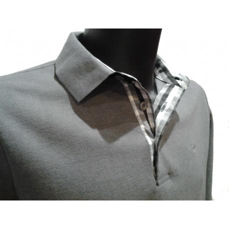 Polo Stil Park gris clair manches longues col chemise à carreaux-My Dressing