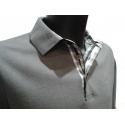 Polo Stil Park gris clair manches longues col chemise à carreaux