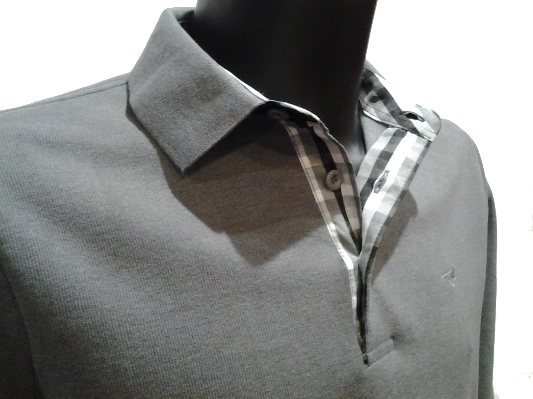 93be0f2dd037d Polo homme Stil-Park gris clair col carreaux manches longues