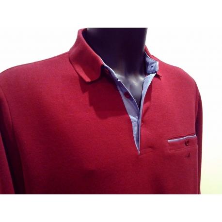 Polo homme Stil Park bordeaux col jeans-My Dressing