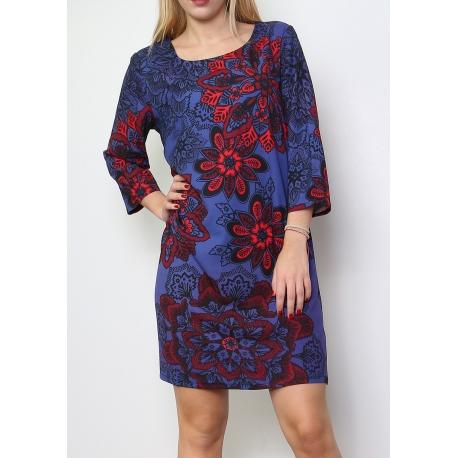 Robe évasée bleu et motif floral rouge manches 3/4-My Dressing