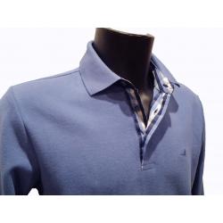 Polo Stil Park bleu ciel manches longues col chemise à carreaux
