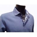 Polo Stil Park bleu clair manches longues col chemise à carreaux
