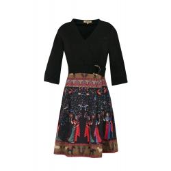 Robe courte patineuse noire à imprimée ethnique