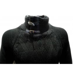 Gros Pull homme noir à torsades-My Dressing