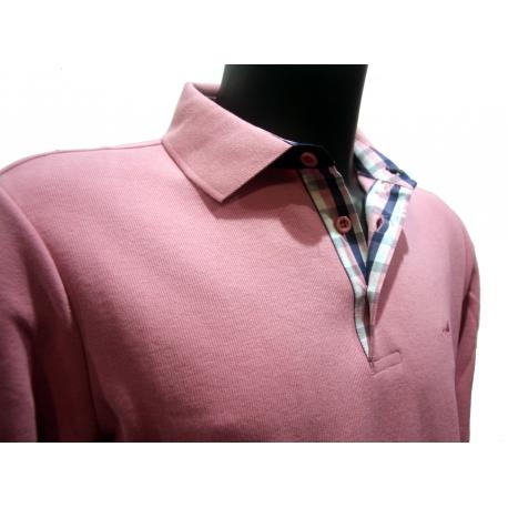 Polo Stil Park rose clair manches longues col chemise à carreaux-My Dressing