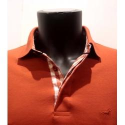 Polo Stil Park manches longues col chemise carreaux couleur brique-My Dressing