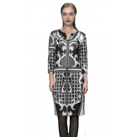 Robe droite imprimée ajustée avec manches motifs Versace