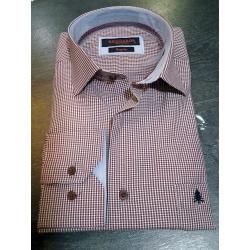Chemise coupe droite à manche longues carreaux vichy bordeaux et blanc
