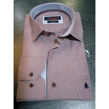 Chemise coupe droite à manche longues carreaux vichy bordeaux et blanc-My-Dressing