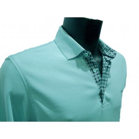 Polo Stil Park vert d'eau manches longues col chemise à carreaux-my-dressing