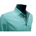 Polo Stil Park vert d'eau manches longues col chemise à carreaux