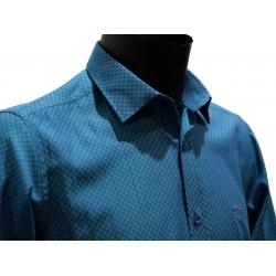 My Dressing Chemise homme bleu turquoise à petits damier,coupe droite manche longues