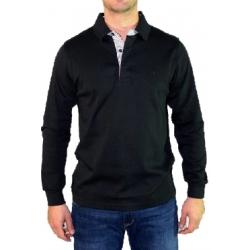 Polo noir manches longues col chemise rayé Stil Park