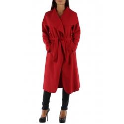 Manteau rouge long col châle avec ceinture