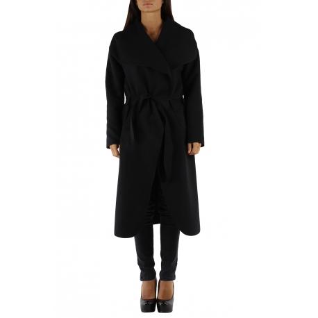 Manteau rouge long col châle avec ceinture-My Dressing