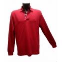 Polo Stil Park couleur rouge manches longues col chemise carreaux