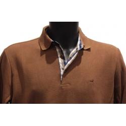 Polo Stil Park manches longues col chemise couleur camel