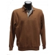 Polo Stil Park camel manches longues col carreaux-My Dressing