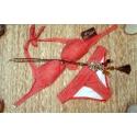Maillot 2 pièces bandeau rouge et kaki Dagadom