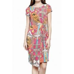 Sweet Miss Robe en jersey imprimé multicolore style Versace