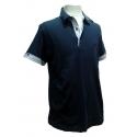 Polo Stil Park manches courtes marine col chemise