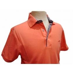 Polo homme Stil Park orange manches courtes col fleurs