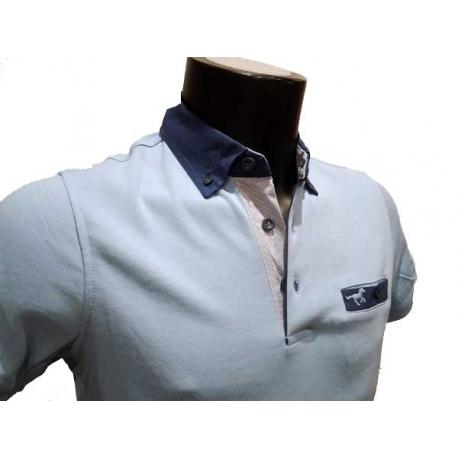 Polo homme Stil Park bleu ciel manches courtes à poche poitrine col jeans avec poche-My Dressing