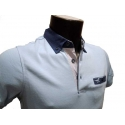 Polo homme Stil Park bleu ciel manches courtes à poche poitrine col jeans avec poche