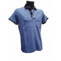 Polo Stil Park manches courtes bleu jeans col marine liseré blanc