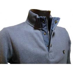 Polo homme Stil Park col zip manches longues bleu denim