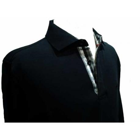 Polo homme Stil Park noir manches longues col chemise carreaux-My Dressing