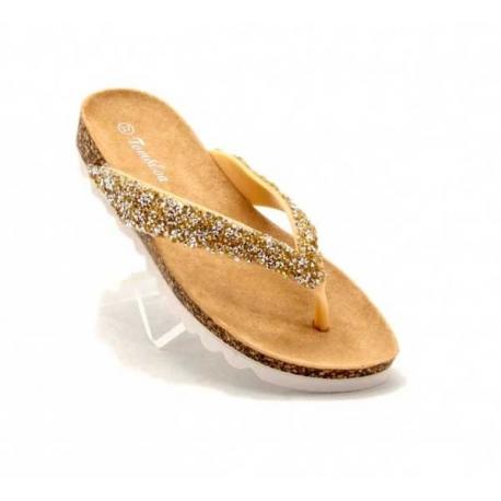 Nu pieds femme à petits strass doré-My Dressing