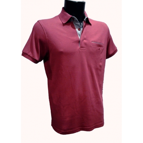 Polo homme Stil Park framboise manches courtes col chemise fines rayures-My Dressing