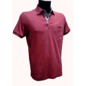 Polo homme Stil Park framboise manches courtes col chemise fines rayures