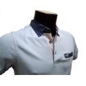 Polo homme Stil Park bleu ciel manches courtes à poche poitrine col jeans