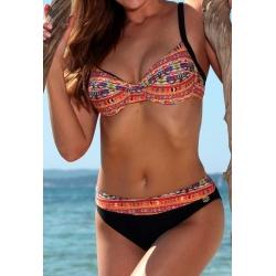 Maillot 2 pièces femme Ocean Wear forme soutien gorge noir et orange