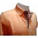 Polo Stil Park manches courtes abricot col chemise à carreaux