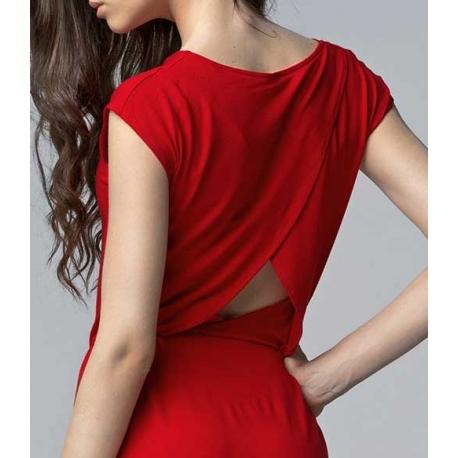 Robe longue fendue sur le devant de la jambe noire et rouge Charlène