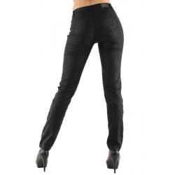 Jeans Onado slim noir satiné à motifs