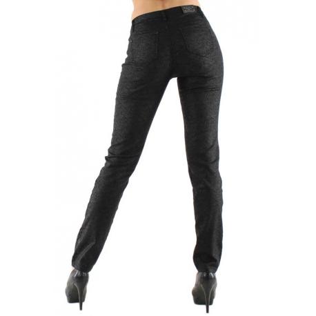 Jeans noir satiné motif Cashmire-My Dressing