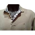 Polo homme Stil Park beige manches longues col chemise à carreaux