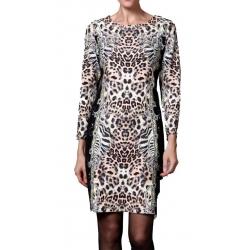 Robe droite ajustée avec manches imprimé Panthère-My Dressing