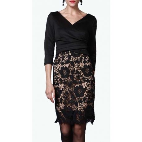 Sweet Miss robe noire avec jupe crayon en macramé-MyDressing