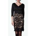Sweet Miss robe noire avec jupe crayon en macramé